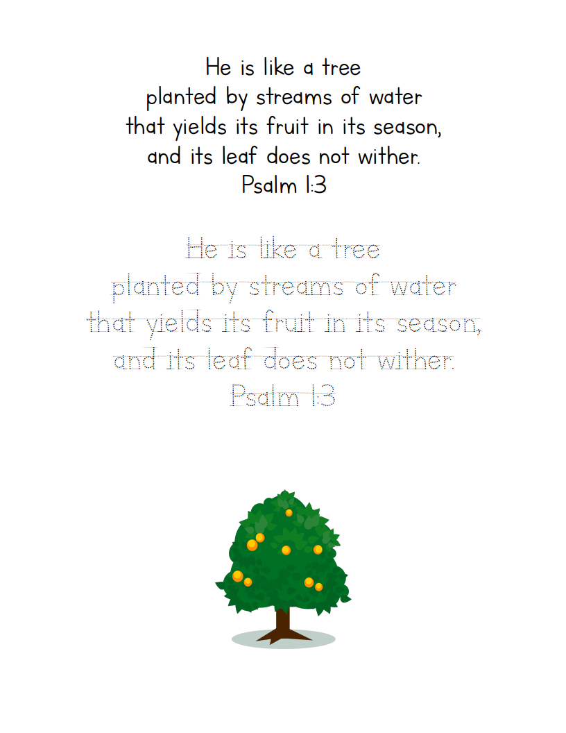 Like a Tree (Psalm 1:3) Copywork Printable Pack | Lifeschooling Conference